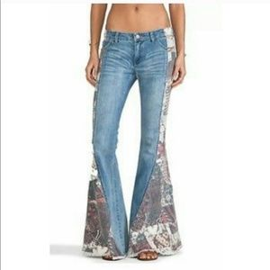 Free people Bali patchwork flare jeans